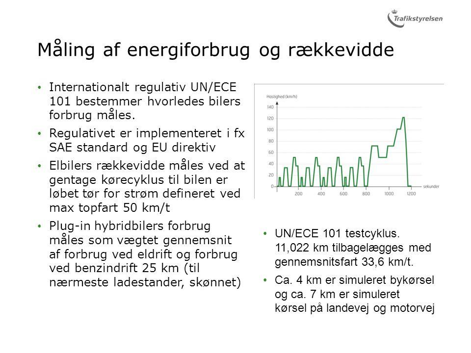 Måling af energiforbrug og rækkevidde Internationalt regulativ UN/ECE 101 bestemmer hvorledes bilers forbrug måles.