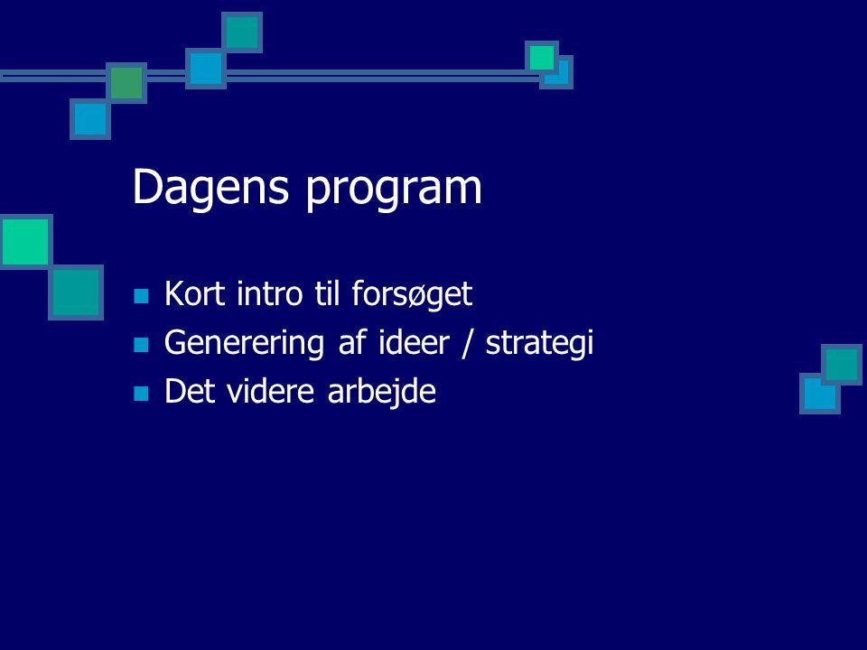 Dagens program Kort intro til forsøget Generering af ideer / strategi Det videre arbejde