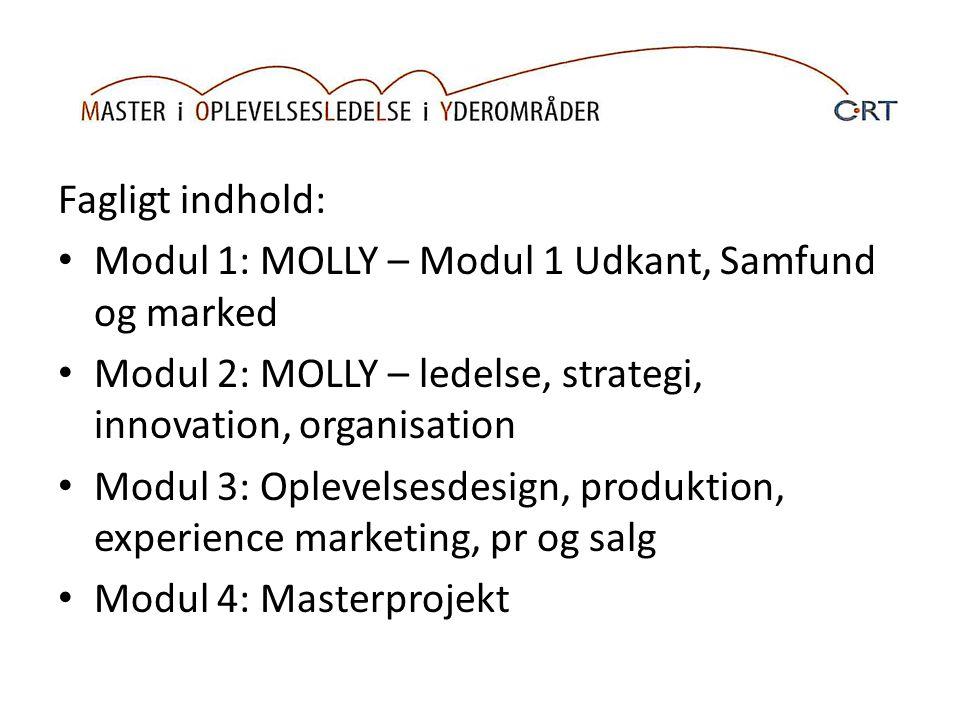 Fagligt indhold: Modul 1: MOLLY – Modul 1 Udkant, Samfund og marked Modul 2: MOLLY – ledelse, strategi, innovation, organisation Modul 3: Oplevelsesdesign, produktion, experience marketing, pr og salg Modul 4: Masterprojekt