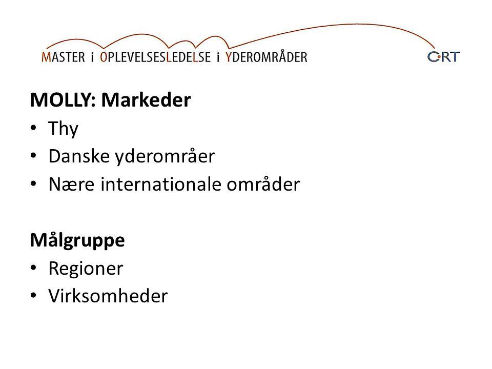 MOLLY: Markeder Thy Danske yderområer Nære internationale områder Målgruppe Regioner Virksomheder