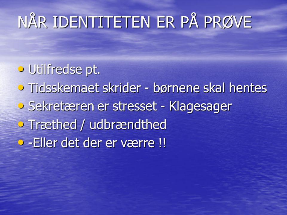 NÅR IDENTITETEN ER PÅ PRØVE Utilfredse pt. Utilfredse pt.