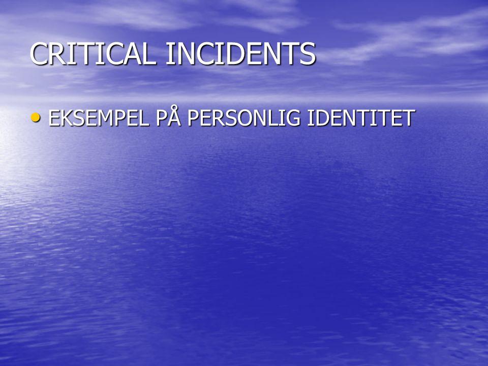 CRITICAL INCIDENTS EKSEMPEL PÅ PERSONLIG IDENTITET EKSEMPEL PÅ PERSONLIG IDENTITET