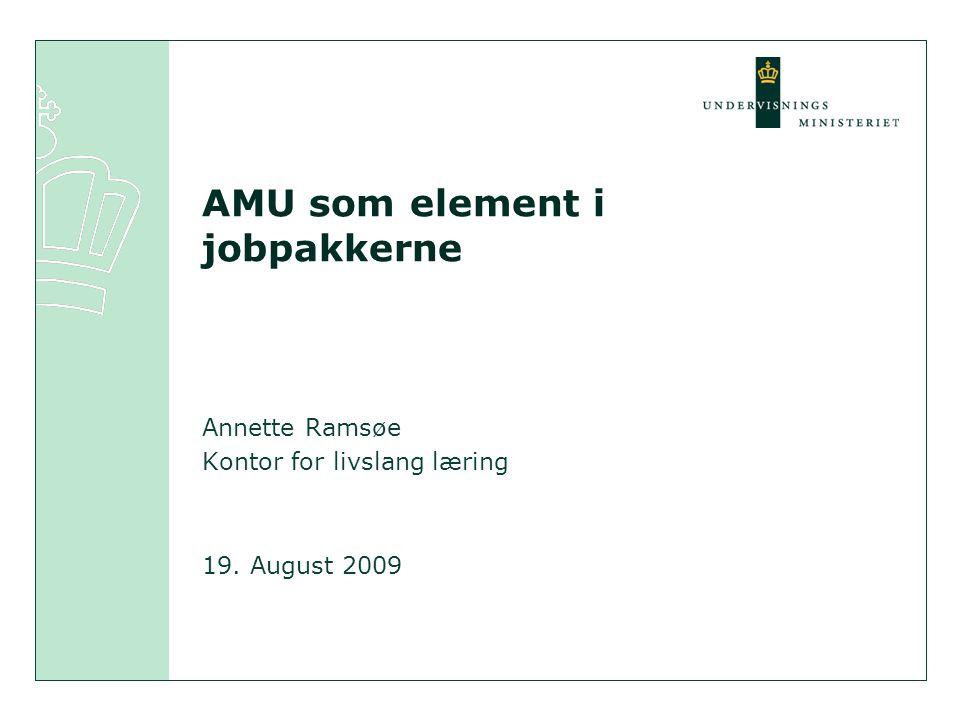 AMU som element i jobpakkerne Annette Ramsøe Kontor for livslang læring 19. August 2009