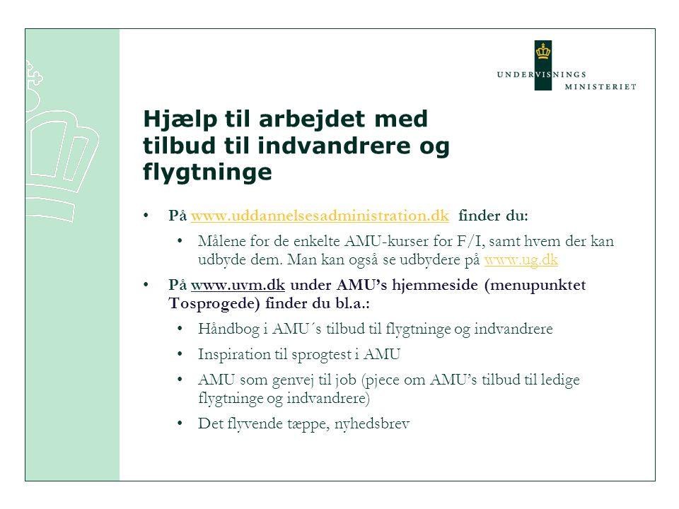 Hjælp til arbejdet med tilbud til indvandrere og flygtninge På www.uddannelsesadministration.dk finder du:www.uddannelsesadministration.dk Målene for de enkelte AMU-kurser for F/I, samt hvem der kan udbyde dem.