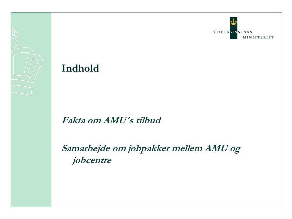 Indhold Fakta om AMU´s tilbud Samarbejde om jobpakker mellem AMU og jobcentre