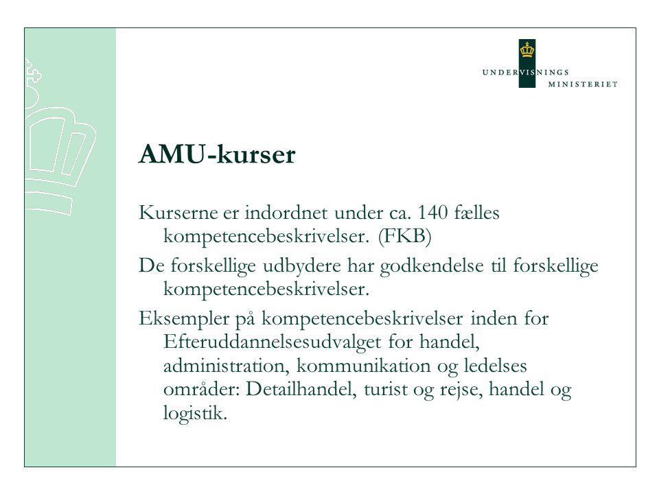 AMU-kurser Kurserne er indordnet under ca. 140 fælles kompetencebeskrivelser.