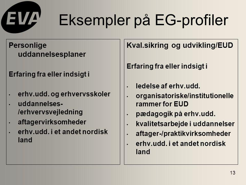 13 Eksempler på EG-profiler Personlige uddannelsesplaner Erfaring fra eller indsigt i erhv.udd.