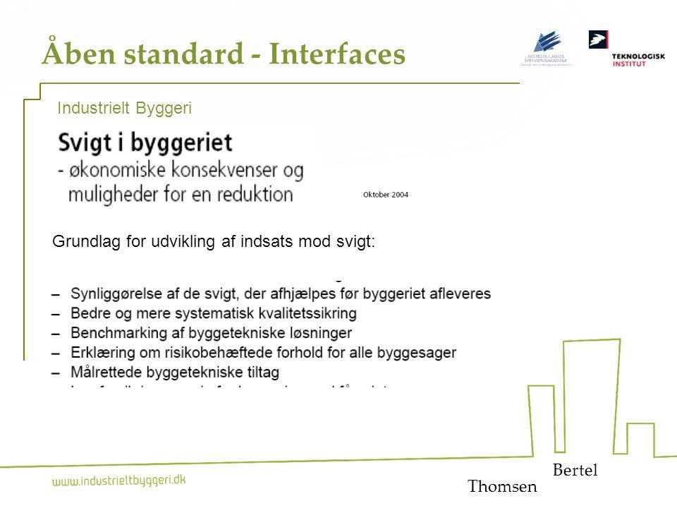 12 Åben standard - Interfaces Bertel Industrielt Byggeri Grundlag for udvikling af indsats mod svigt: Thomsen