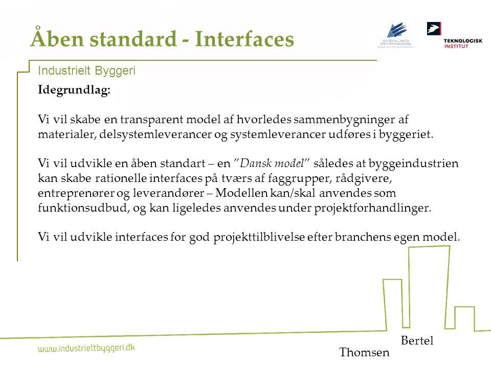 15 Åben standard - Interfaces Idegrundlag: Vi vil skabe en transparent model af hvorledes sammenbygninger af materialer, delsystemleverancer og systemleverancer udføres i byggeriet.