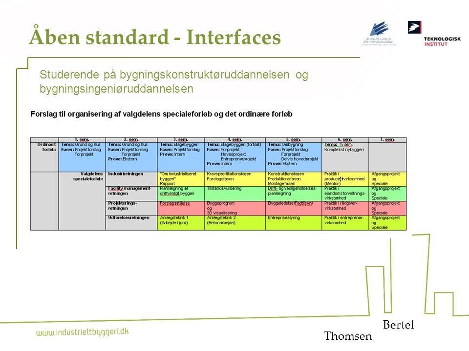 26 Åben standard - Interfaces Bertel Studerende på bygningskonstruktøruddannelsen og bygningsingeniøruddannelsen Thomsen