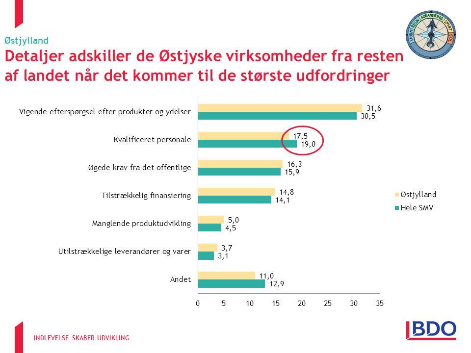 INDLEVELSE SKABER UDVIKLING Østjylland Detaljer adskiller de Østjyske virksomheder fra resten af landet når det kommer til de største udfordringer