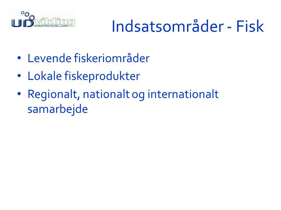 Indsatsområder - Fisk Levende fiskeriområder Lokale fiskeprodukter Regionalt, nationalt og internationalt samarbejde