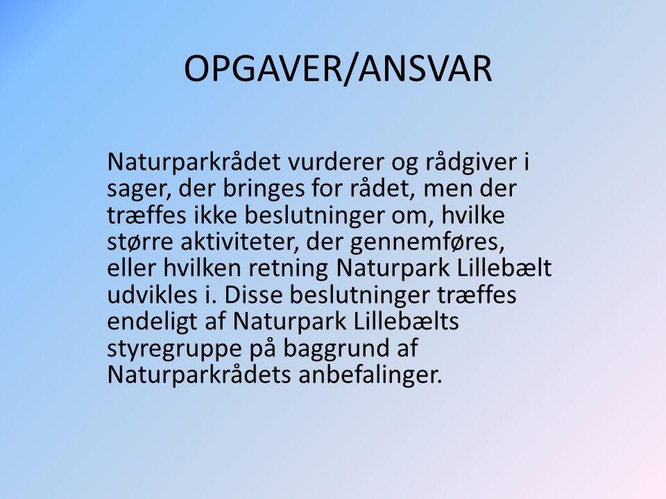 OPGAVER/ANSVAR Naturparkrådet vurderer og rådgiver i sager, der bringes for rådet, men der træffes ikke beslutninger om, hvilke større aktiviteter, der gennemføres, eller hvilken retning Naturpark Lillebælt udvikles i.