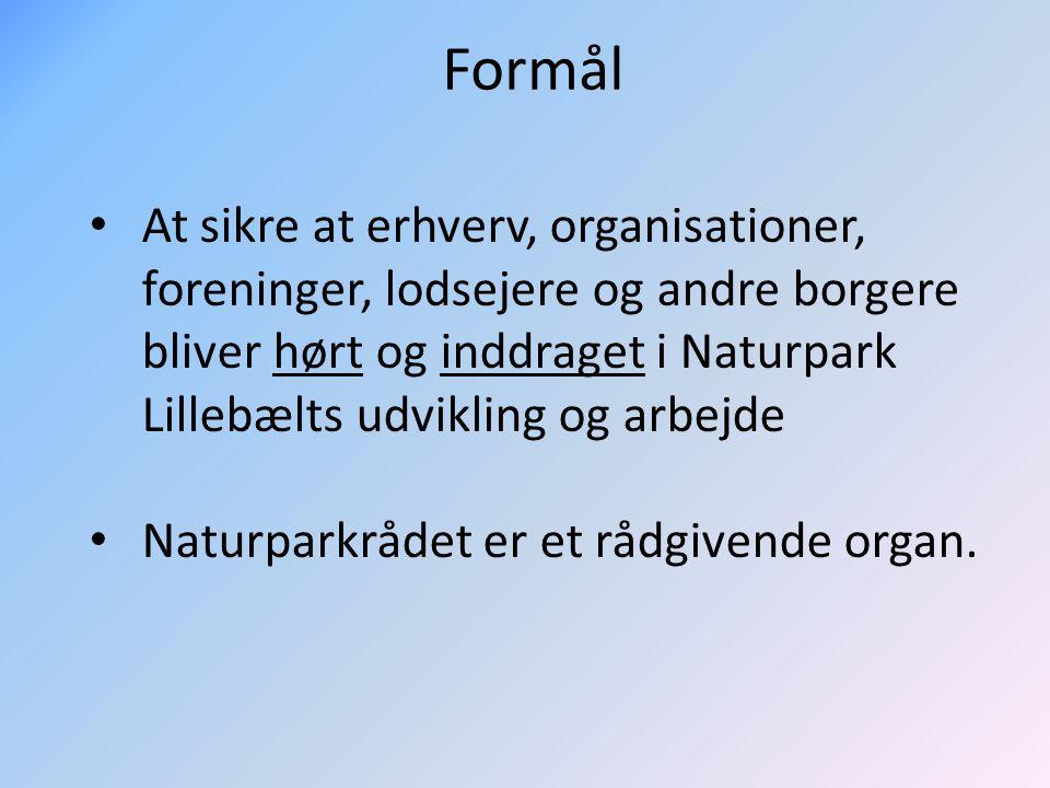 Formål At sikre at erhverv, organisationer, foreninger, lodsejere og andre borgere bliver hørt og inddraget i Naturpark Lillebælts udvikling og arbejde Naturparkrådet er et rådgivende organ.