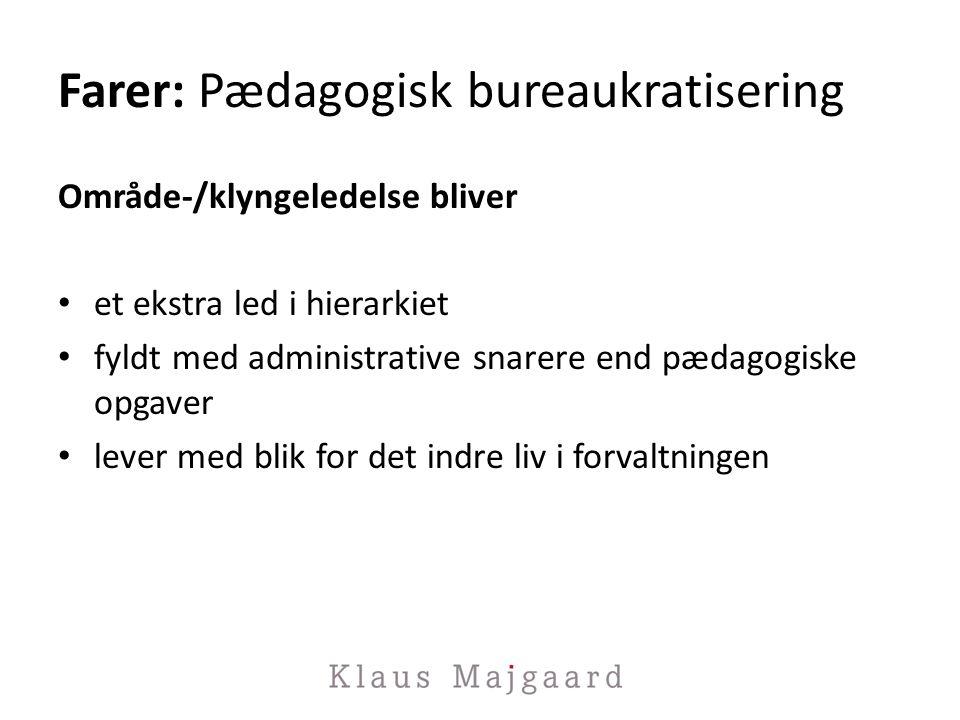 Farer: Pædagogisk bureaukratisering Område-/klyngeledelse bliver et ekstra led i hierarkiet fyldt med administrative snarere end pædagogiske opgaver lever med blik for det indre liv i forvaltningen