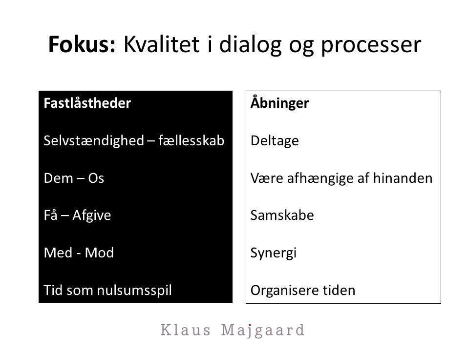 Fokus: Kvalitet i dialog og processer Fastlåstheder Selvstændighed – fællesskab Dem – Os Få – Afgive Med - Mod Tid som nulsumsspil Åbninger Deltage Være afhængige af hinanden Samskabe Synergi Organisere tiden