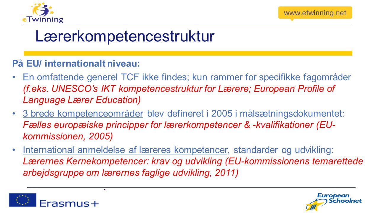 Lærerkompetencestruktur På EU/ internationalt niveau: En omfattende generel TCF ikke findes; kun rammer for specifikke fagområder (f.eks.