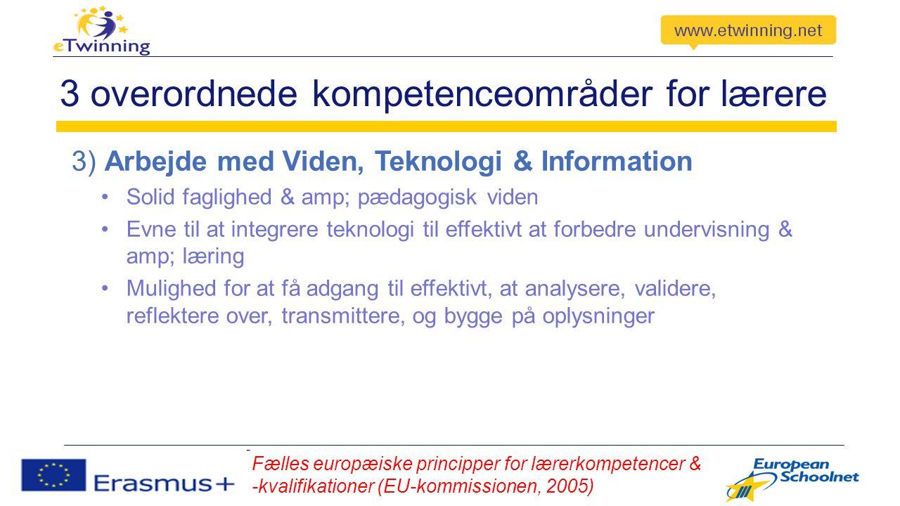 3 overordnede kompetenceområder for lærere 3) Arbejde med Viden, Teknologi & Information Solid faglighed & amp; pædagogisk viden Evne til at integrere teknologi til effektivt at forbedre undervisning & amp; læring Mulighed for at få adgang til effektivt, at analysere, validere, reflektere over, transmittere, og bygge på oplysninger Fælles europæiske principper for lærerkompetencer & -kvalifikationer (EU-kommissionen, 2005)