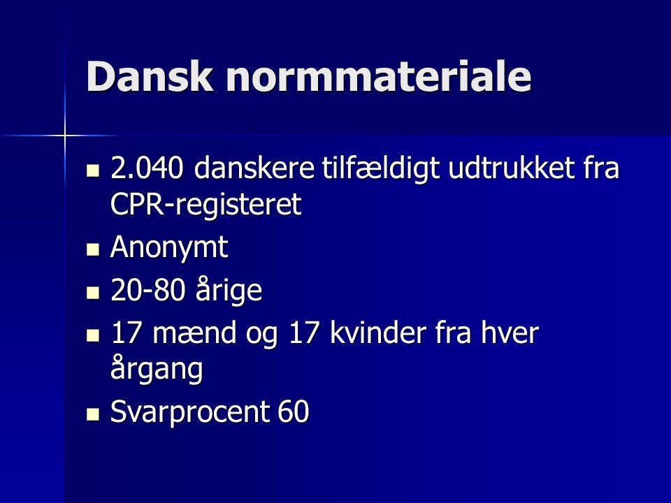 Dansk normmateriale 2.040 danskere tilfældigt udtrukket fra CPR-registeret 2.040 danskere tilfældigt udtrukket fra CPR-registeret Anonymt Anonymt 20-80 årige 20-80 årige 17 mænd og 17 kvinder fra hver årgang 17 mænd og 17 kvinder fra hver årgang Svarprocent 60 Svarprocent 60