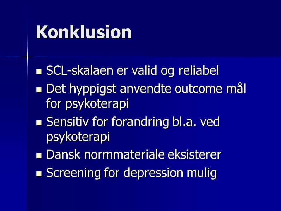 Konklusion SCL-skalaen er valid og reliabel SCL-skalaen er valid og reliabel Det hyppigst anvendte outcome mål for psykoterapi Det hyppigst anvendte outcome mål for psykoterapi Sensitiv for forandring bl.a.