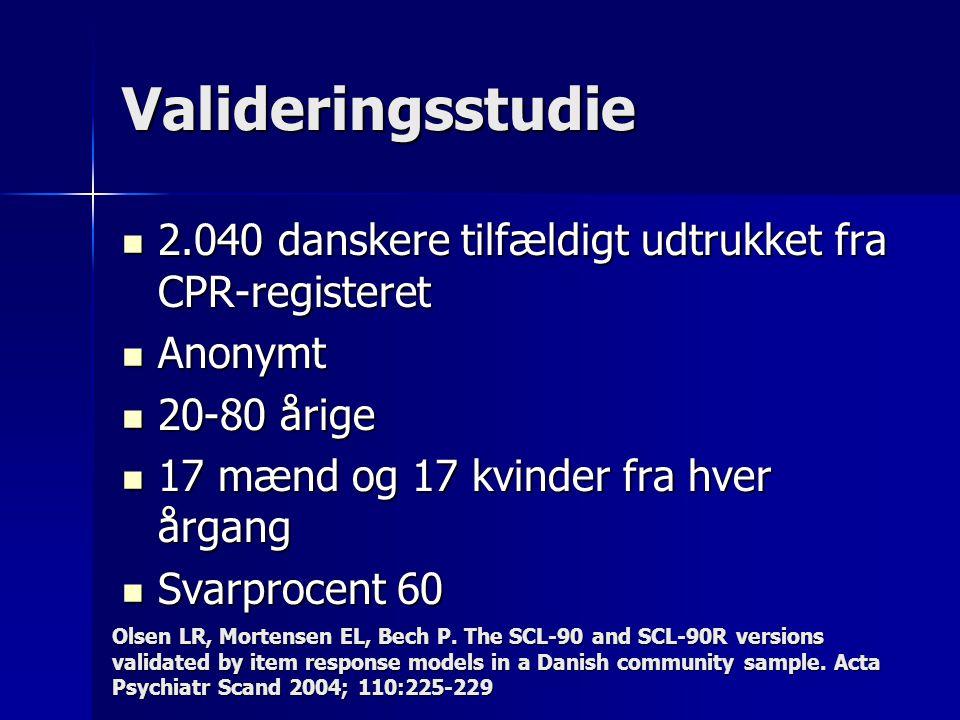 Valideringsstudie 2.040 danskere tilfældigt udtrukket fra CPR-registeret 2.040 danskere tilfældigt udtrukket fra CPR-registeret Anonymt Anonymt 20-80 årige 20-80 årige 17 mænd og 17 kvinder fra hver årgang 17 mænd og 17 kvinder fra hver årgang Svarprocent 60 Svarprocent 60 Olsen LR, Mortensen EL, Bech P.