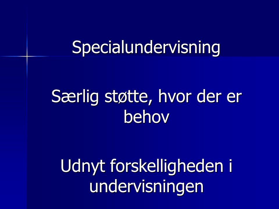 Specialundervisning Særlig støtte, hvor der er behov Udnyt forskelligheden i undervisningen
