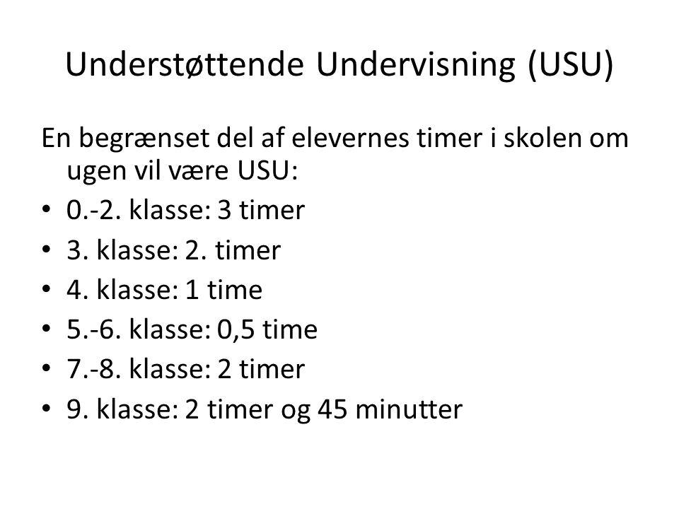 Understøttende Undervisning (USU) En begrænset del af elevernes timer i skolen om ugen vil være USU: 0.-2.
