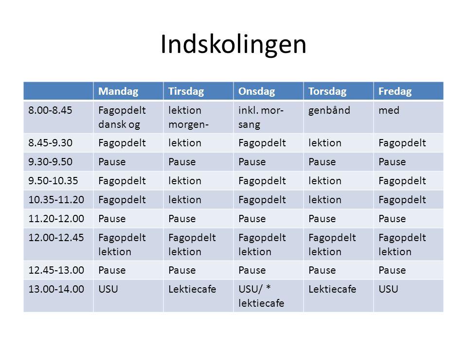 Indskolingen MandagTirsdagOnsdagTorsdagFredag 8.00-8.45Fagopdelt dansk og lektion morgen- inkl.