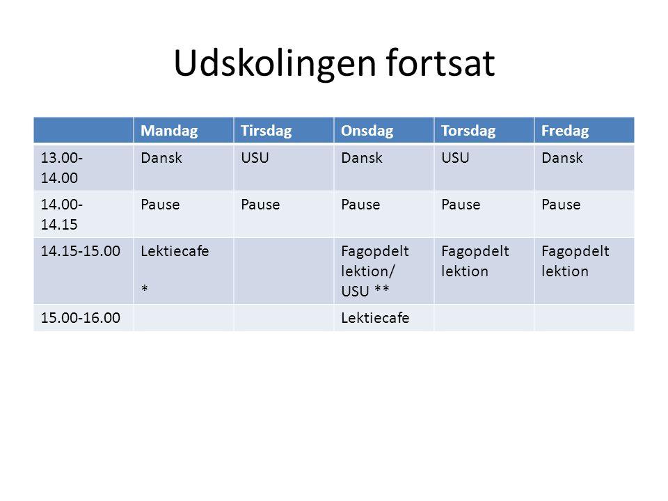 Udskolingen fortsat MandagTirsdagOnsdagTorsdagFredag 13.00- 14.00 DanskUSUDanskUSUDansk 14.00- 14.15 Pause 14.15-15.00Lektiecafe * Fagopdelt lektion/ USU ** Fagopdelt lektion 15.00-16.00Lektiecafe