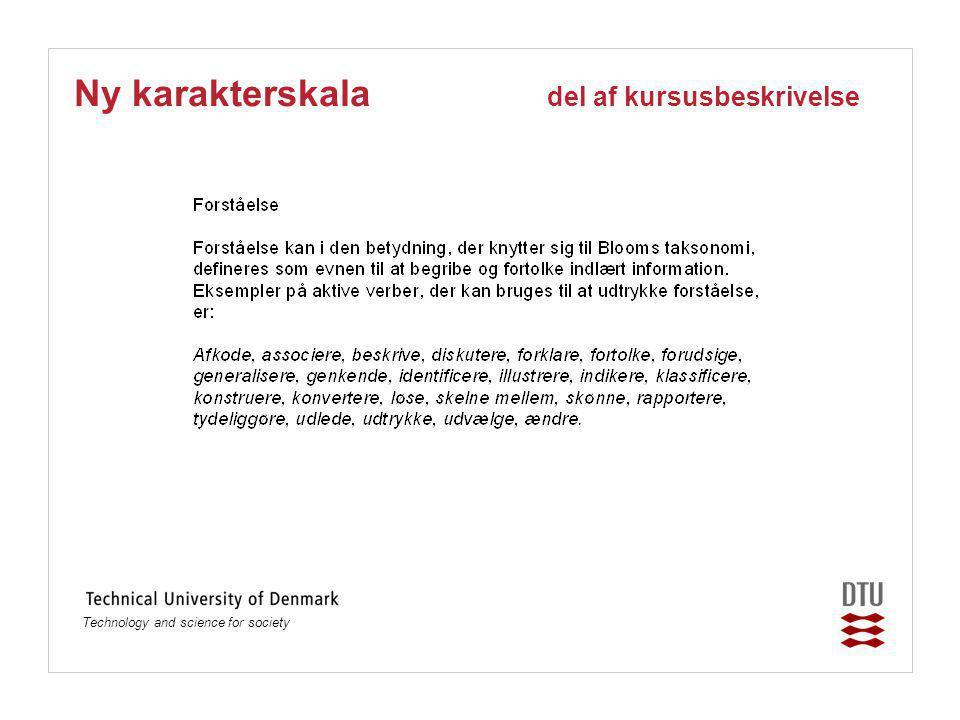 Technology and science for society Ny karakterskala del af kursusbeskrivelse