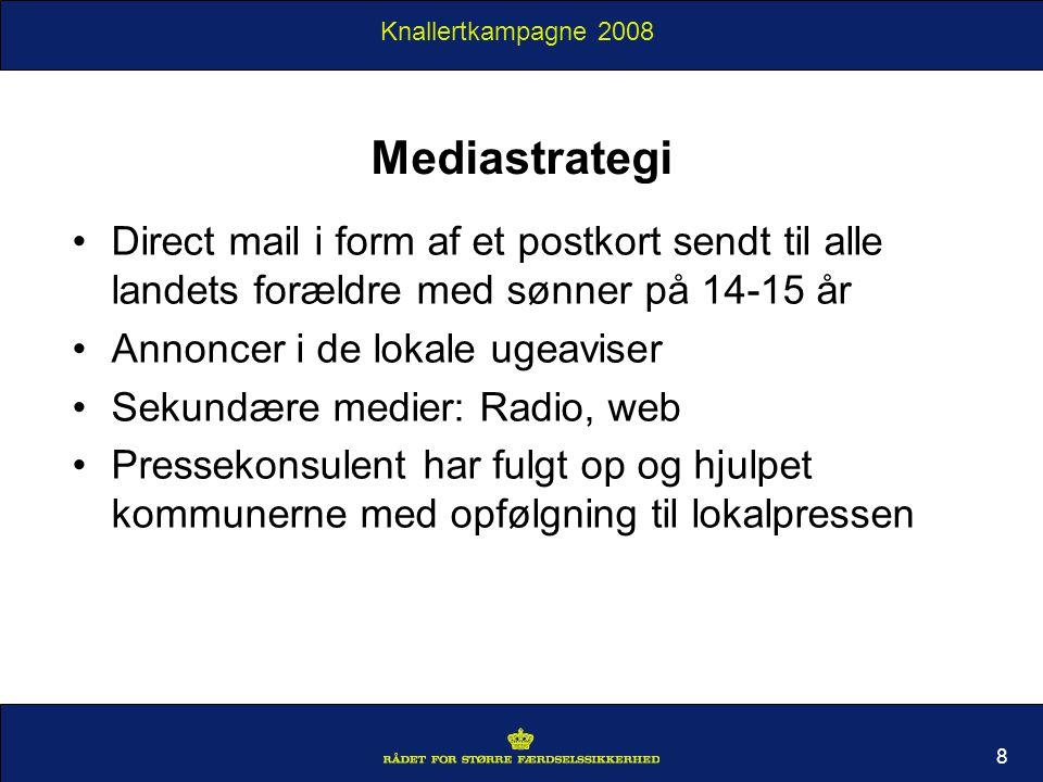 Knallertkampagne 2008 Mediastrategi Direct mail i form af et postkort sendt til alle landets forældre med sønner på 14-15 år Annoncer i de lokale ugeaviser Sekundære medier: Radio, web Pressekonsulent har fulgt op og hjulpet kommunerne med opfølgning til lokalpressen 8