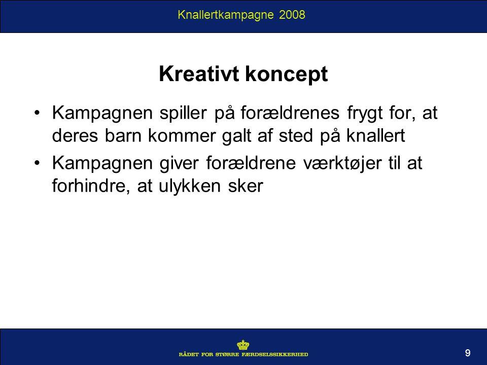 Knallertkampagne 2008 Kreativt koncept Kampagnen spiller på forældrenes frygt for, at deres barn kommer galt af sted på knallert Kampagnen giver forældrene værktøjer til at forhindre, at ulykken sker 9
