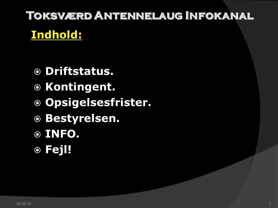 Toksværd Antennelaug Infokanal Indhold:  Driftstatus.