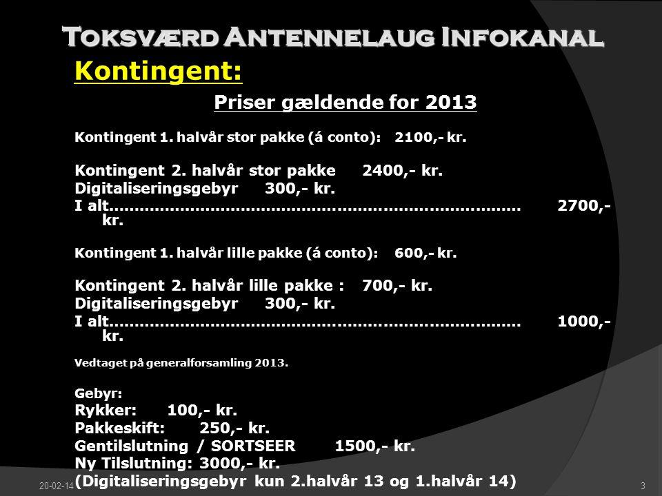 Toksværd Antennelaug Infokanal Kontingent: 20-02-143 Priser gældende for 2013 Kontingent 1.