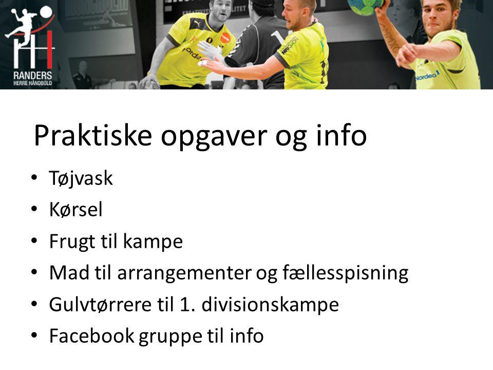 Praktiske opgaver og info Tøjvask Kørsel Frugt til kampe Mad til arrangementer og fællesspisning Gulvtørrere til 1.