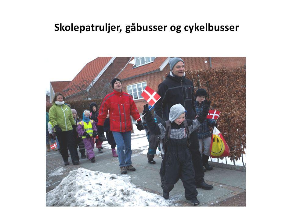 Skolepatruljer, gåbusser og cykelbusser