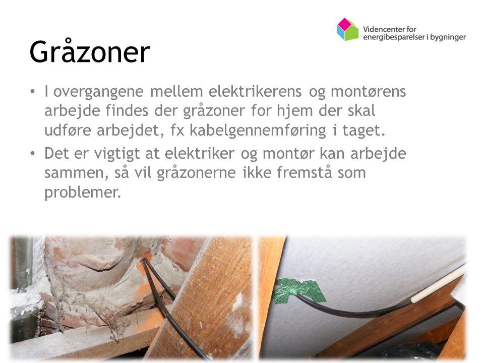 I overgangene mellem elektrikerens og montørens arbejde findes der gråzoner for hjem der skal udføre arbejdet, fx kabelgennemføring i taget.