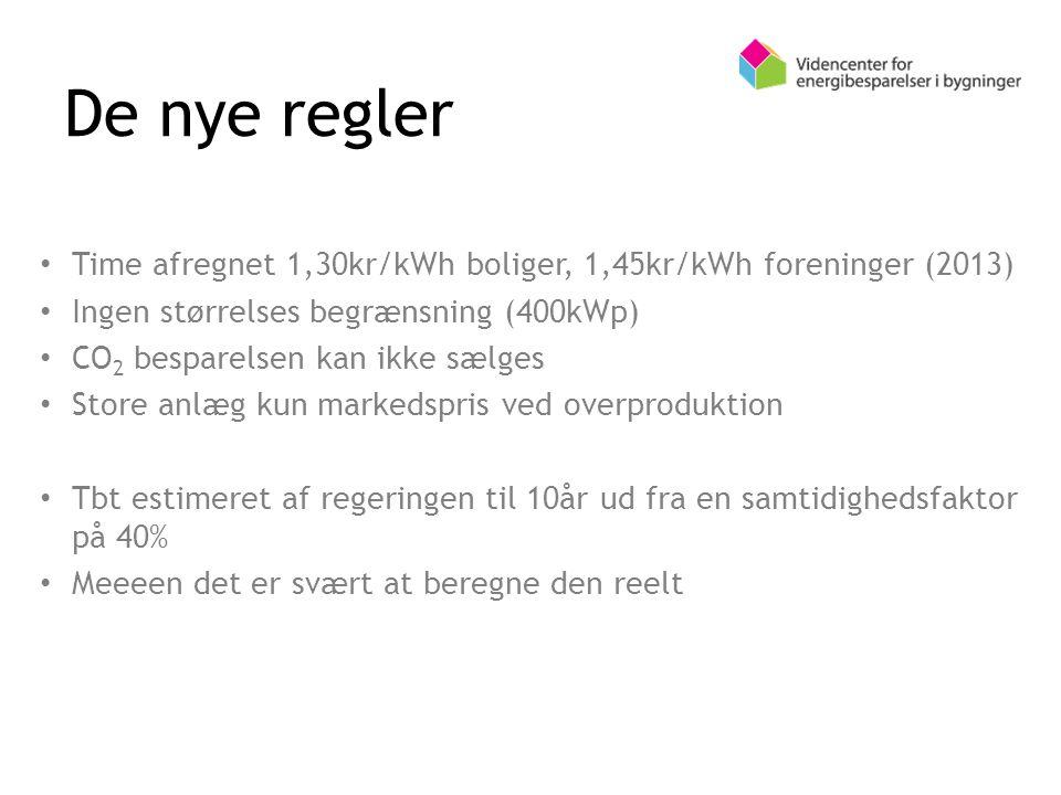 Time afregnet 1,30kr/kWh boliger, 1,45kr/kWh foreninger (2013) Ingen størrelses begrænsning (400kWp) CO 2 besparelsen kan ikke sælges Store anlæg kun markedspris ved overproduktion Tbt estimeret af regeringen til 10år ud fra en samtidighedsfaktor på 40% Meeeen det er svært at beregne den reelt De nye regler