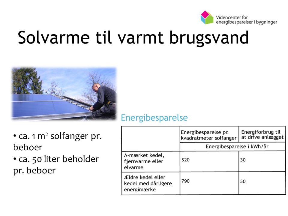 Solvarme til varmt brugsvand ca. 1 m 2 solfanger pr. beboer ca. 50 liter beholder pr. beboer
