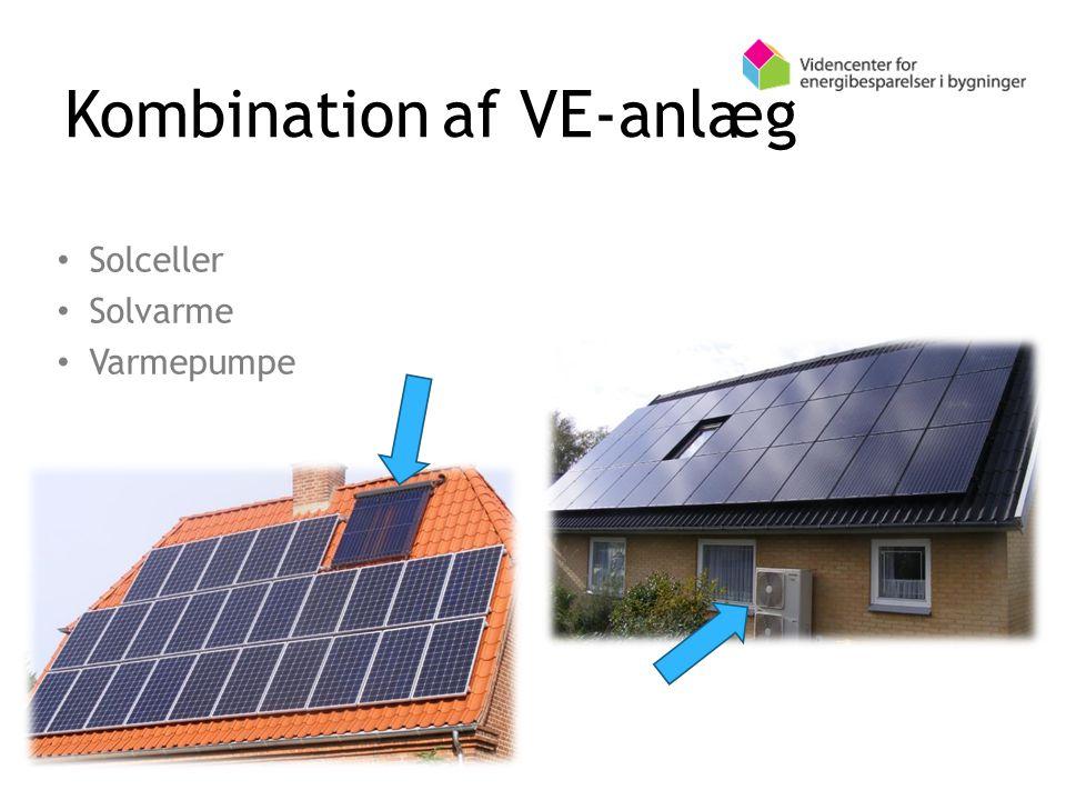 Kombination af VE-anlæg Solceller Solvarme Varmepumpe