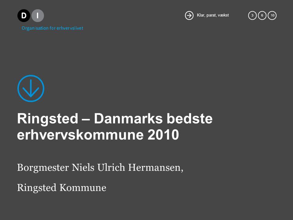 Klar, parat, vækst 36 10 Ringsted – Danmarks bedste erhvervskommune 2010 Borgmester Niels Ulrich Hermansen, Ringsted Kommune