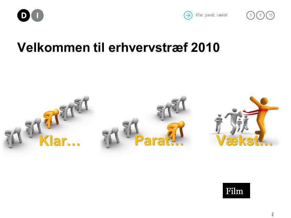 Klar, parat, vækst 36 10 Velkommen til erhvervstræf 2010 2 Klar… Parat… Vækst… Film