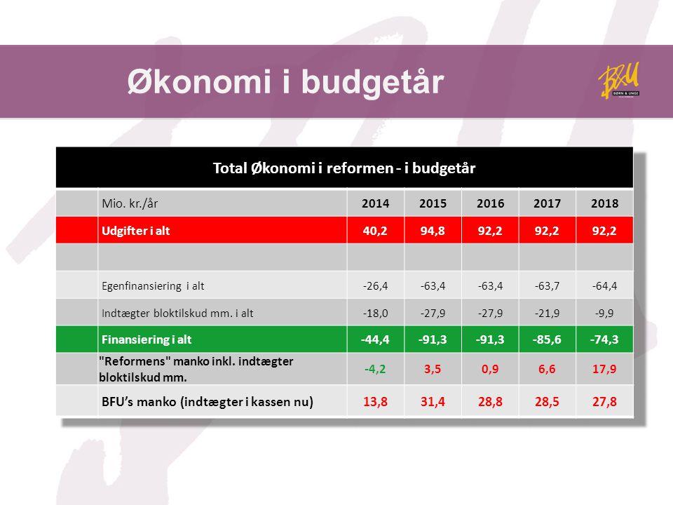 Økonomi i budgetår BFU's manko (indtægter i kassen nu)13,831,428,828,527,8