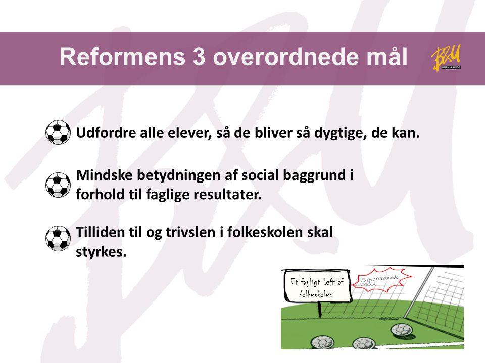 Reformens 3 overordnede mål Et fagligt løft af folkeskolen Udfordre alle elever, så de bliver så dygtige, de kan.