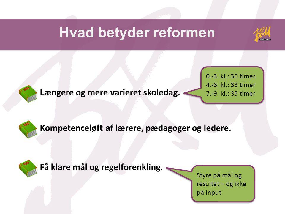 Hvad betyder reformen Længere og mere varieret skoledag.