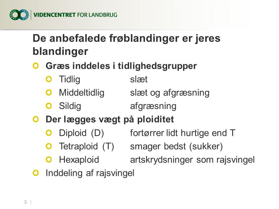 3...| De anbefalede frøblandinger er jeres blandinger Græs inddeles i tidlighedsgrupper Tidligslæt Middeltidligslæt og afgræsning Sildig afgræsning Der lægges vægt på ploiditet Diploid (D)fortørrer lidt hurtige end T Tetraploid(T)smager bedst (sukker) Hexaploidartskrydsninger som rajsvingel Inddeling af rajsvingel