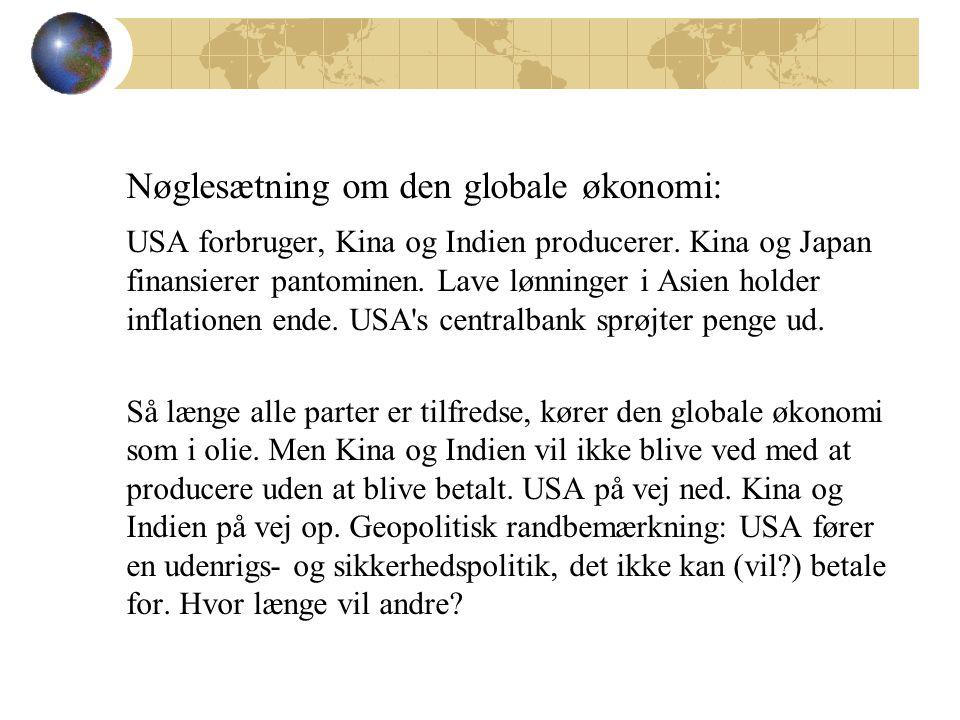 Nøglesætning om den globale økonomi: USA forbruger, Kina og Indien producerer.