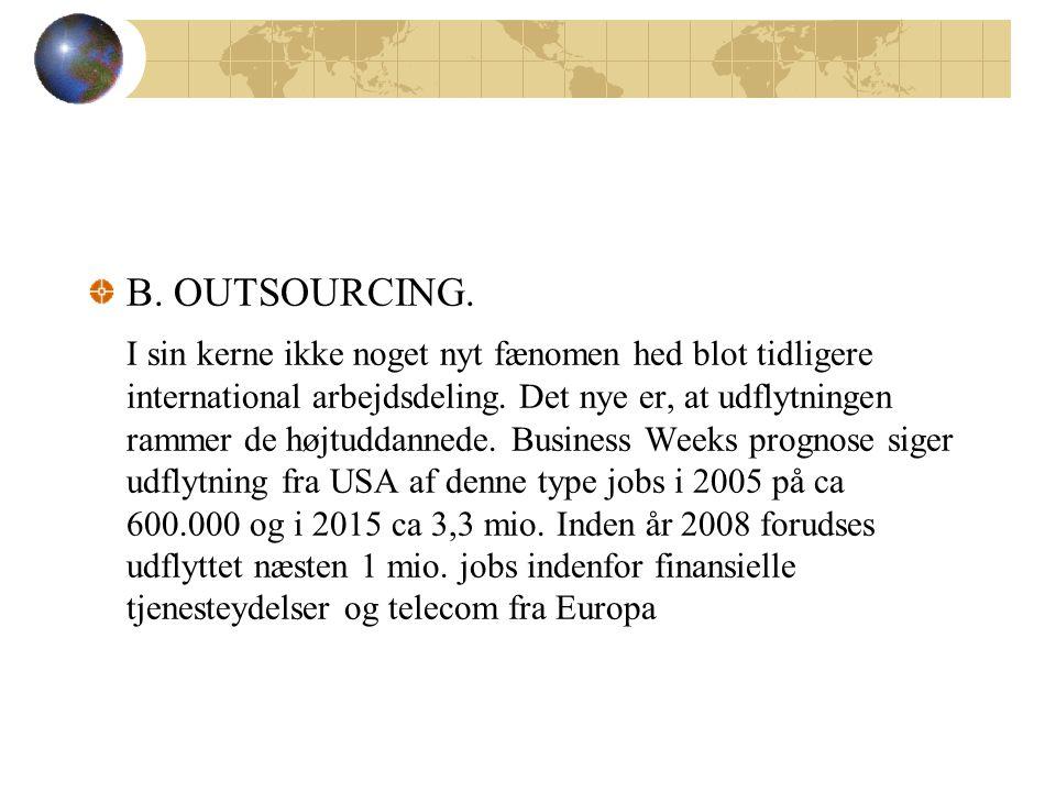B. OUTSOURCING. I sin kerne ikke noget nyt fænomen hed blot tidligere international arbejdsdeling.