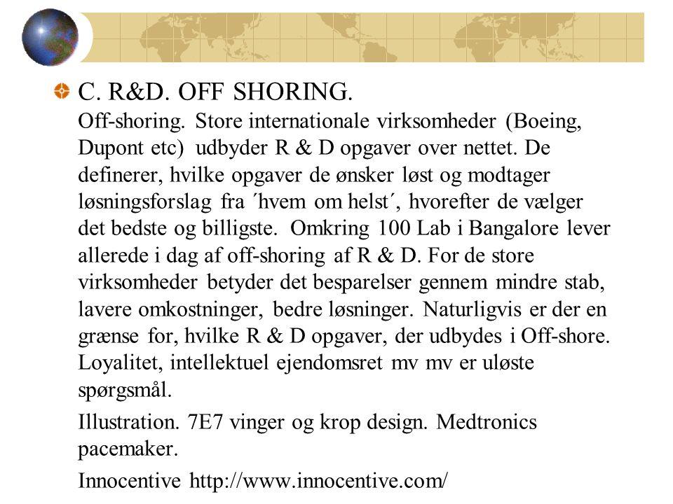 C. R&D. OFF SHORING. Off-shoring.
