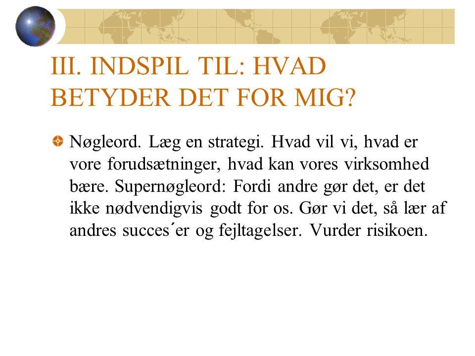 III. INDSPIL TIL: HVAD BETYDER DET FOR MIG. Nøgleord.
